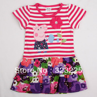Retail 1pcs HOT peppa pig Children's Clothing cotton Dresses 2014 New summer Fashion children's stripes Dresses, Cotton Dresses