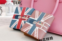 FREE SHIPPING!!2014New Fashion the Union Flag princekin pu leather short lady women wallets purse handbag