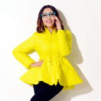 Original design skirt wadded jacket new arrival yellow slim lacing lotus leaf long design thin cotton-padded jacket