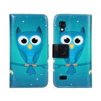 blue owl PU leather wallet phone case cover for LG L9