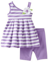 Summer children's sets girl one shoulder spaghetti strap purple stripe top + trousers cotton twinsets for 2-8Y drop shipping