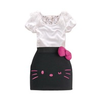 Summer children's clothing short sleeve lace T-shirts + kitty bow skirt cotton twinsets for 1-6Y drop shipping wholesale