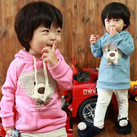 Spring Autumn children's clothing long sleeve bow bear sweatshirt with a hood fleece outerwear for 2-8Y drop shipping wholesale