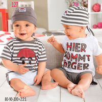 254 cartoon letter stripe set single male child casual short-sleeve male child triangle set