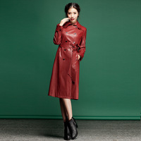 2013 autumn leather trench lacing overcoat women outerwear top trench dress s106a13  Free shipping