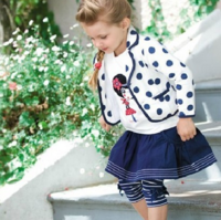 Blue and white polka dot 171 outerwear autumn female child set long-sleeve set
