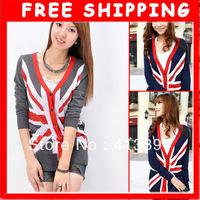 New UK Flag Union Jack Sweater Sweaters Jumper Cardigan Long Sleeve 5 Colors U pick