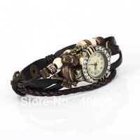 Fashion bracelet watch women's watch spirally-wound genuine leather vintage table student table trend diamond