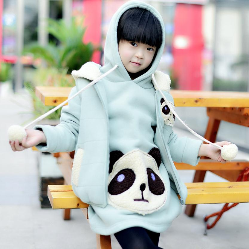 Girls clothes 2013 new year autumn / winter warm children hoodies sets children's clothing sportswear baby girls panda suit(China (Mainland))