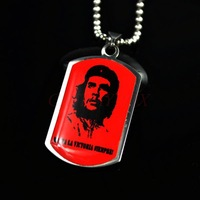 Stainless Steel Enamel Red Cuban Hero Che Guevara Portrait Charm Pendant Necklace With Chain 50CM 01