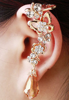 New 2014 cuffs earrings for woman butterfly crystal drop stud clip earrings gold plated Free shipping