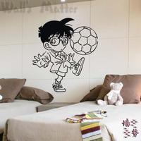 Free Shipping Home Decor Child boy glass windows and doors decoration boy football cartoon PVC wall stickers 60 x 105CM