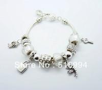 B3 2013 New Free shipping charm bracelet for woman bracelets silver fashion 925 silver chamilia beads bracelets