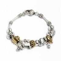 B4 925 silver chamilia beads bracelets 2013 New Free shipping charm dark bracelet for woman bracelets silver fashion