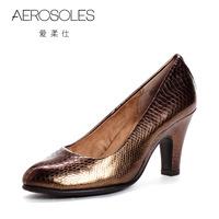 Rgxzr aerosoles 2012 spring formal intellectuality serpentine pattern thick high-heeled single shoes sheepskin 21a12035