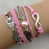 SL31224 Trendy Casual wax string multi-layer wrist bracelets,vintage pendant bracelet,weave bracelets, 6pcs / lot & Free shiping