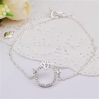 SPCA009 | factory price wholesale fashion jewelry | 925 silver plated High quality anklets Chain|Promotion Free shipping