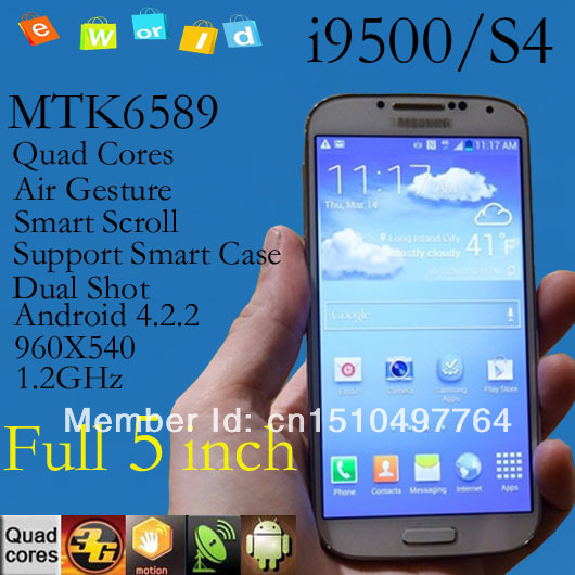 Promotions Dual-Shot Camera Galaxy Phone Air Gesture MTK6589 quad core support smart case i9500 android 3g smartphone gps(China (Mainland))