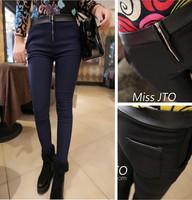 FS2421 fashion patchwork front zipper all-match high waist skinny pants pencil pants