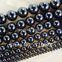 "wholesale 15.5"" Smooth Round Black Agate Onyx Beads 4 6 8 10 12 14mm Pick Siz Free Shipping-F00061"