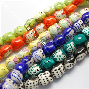 Handmade Porcelain Beads, Famille Rose Porcelain, Owl, Mixed Color, 17x15x13mm, Hole: 3mm(China (Mainland))
