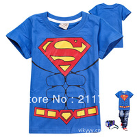 wholesale Super man children's clothing child short-sleeve T-shirt male child summer medium-large child boy t shirt 5pc/lot