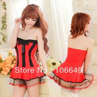 sexy lingerie babydoll red&black princess dress+g string new set sleepwear costum uniform kimono underwear