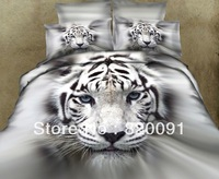 Hot New Arrival 4 or 5pcs 100% Cotton 3d Oil Painting White Tiger Head Printed Bed Set for Men Queen King Size-Fast Shipping