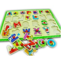 Letter wooden puzzle infant flat jigsaw puzzle child baby toy