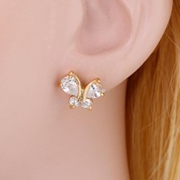 2013 New fashion crystal gold plated jewelry lovely butterfly stud earrings for women EAR-ERZ00545