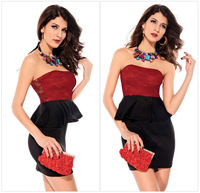 Free shipping!New Women Clothing Rose Lace Flouncing Strapless Dress Chest Wrapped Sexy Slim One-piece Dress 2014 Luxury