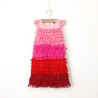 Wholesale 2014 New summer children clothing,baby girl sweat style rainbow dress,kid splice colorful cake dress,lace gauze child