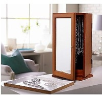 Wooden furniture Tabletop Spinning Mirrored Jewelry Safekeeper Jewel box