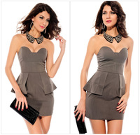 Free shipping!2014 Women Clothing New OL Dress Chest Wrapped Strapless Dress Sexy Flouncing One-piece Dress