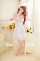 sexy lingerie babydoll white flower lace transaprent dress+gstring new set sleepwear costum uniform kimono underwear