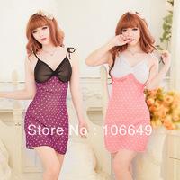 sexy lingerie babydoll purple/pink point hot dress+g string 2pcs new set sleepwear costum uniform kimono underwear