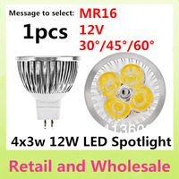 MR16-4LED-12W Free shipping 1pcs High Power Dimmable/Non-dimmable 12V LED Light  Bulb Lamp Warm/Pure/Cool White
