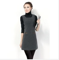 Slim ladies winter woolen waistcoat dress