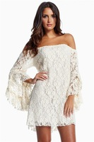 Off the shoulder flare sleeve lace dress strapless flare sleeve lace one-piece dress