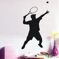 Free Shipping Home Decor tennis ball player Pvc waterproof  Wall stickers 70 x 42CM