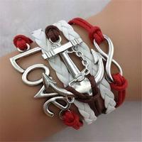 "SL31235 Fashion Casual multi-layer vintage adjustable weave bracelet,""love & anchor "", 6pcs / lot & Free shiping"