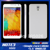 "5.5"" Super AMOLED Screen Dual SIM Card N900 N9000 N9002 N9006 Note 3 Android 4.3 Smart Phone SC6820 1.0GHz CPU / 256M RAM / WIFI"