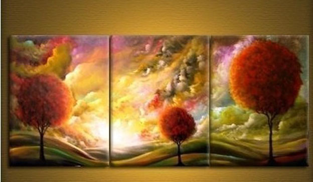 100% handmade pictures decor 3 piece canvas artl Art Modern Abstract canvas Cloud tree Oil Painting artwork with framed F985(China (Mainland))