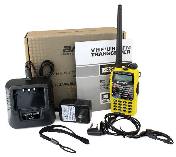 Yellow BaoFeng Walkie Talkie UV-5RA 5W FM Radio 128CH UHF + VHF DTMF VOX Dual Band Dual Frequency Two Way Radio A0888F Fshow(China (Mainland))
