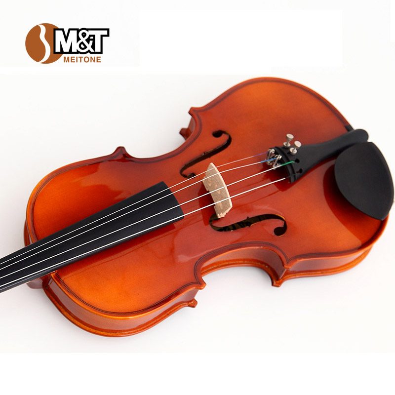 M t encore violin practice musical instrument set portable case bow violin handmade(China (Mainland))