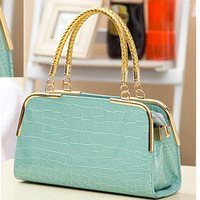 New 2013 Korean Style leisure bolsa red handbag crocodile grain bride bag bolso  message bag body across bag