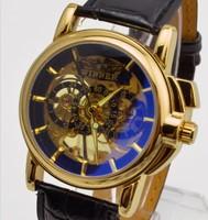 2013 Brand winner men's wristwatches black leather Gold Skeleton Self Wind Mechanical Watch, men's dress Watches freeshipping