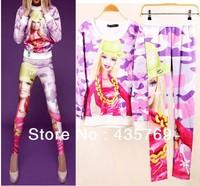 2014 3D Barbie Cartoon Print Hoodie Set Autumn Winter Womens Leisure Suit Brand Designer womens t shirt+Leggings Sport Suits