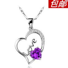 925 pure silver necklace female short design accessories love pendant silver marriage short design accessories the bride