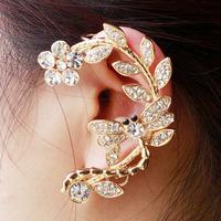 2014 New High Quality Fashion crystal flower bouquet Earring clip For women,Ear cuff clip Earrings